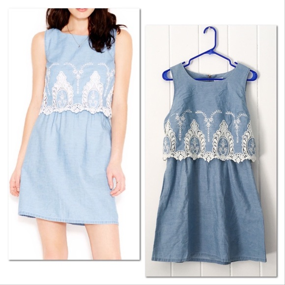 Maison Jules Dresses & Skirts - Maison Jules Embroidered Chambray Pop Over Dress